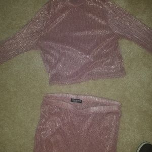 Long sleeve sparkly rose set
